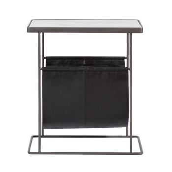White Marble Side Table with Black top-grain Leather Magazine Holder