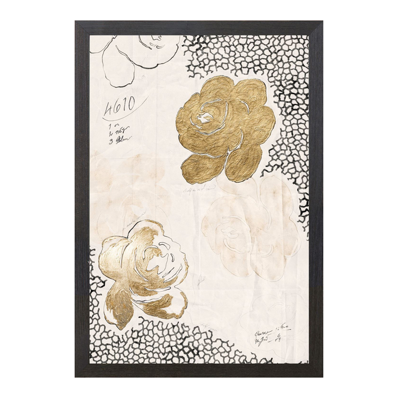 Black And Gold Floral Art