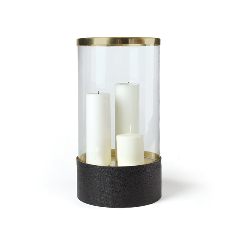 Brass And Glass Hurricane With Black Leather Base