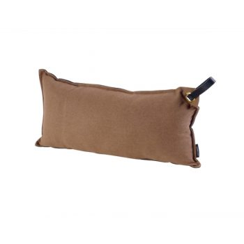 Brown Lumbar Pillow With Black Leather Strap Handle