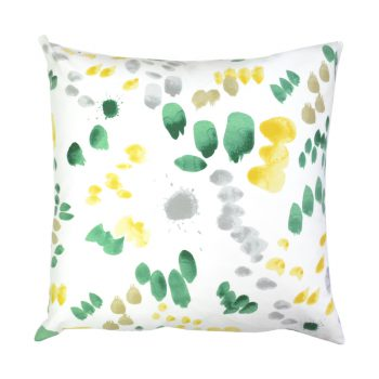 Green And Yellow Watercolor Print Pillow