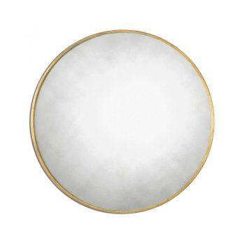 Round Antiqued Gold Mirror