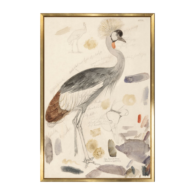 Warm Neutral Crowned Crane Bird Painting Art