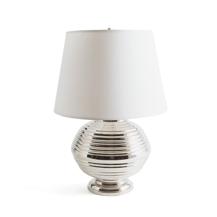Banded Ball Sphere Chrome Table Lamp