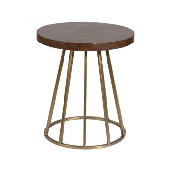 Brass And Wood Side Table With Cone Base