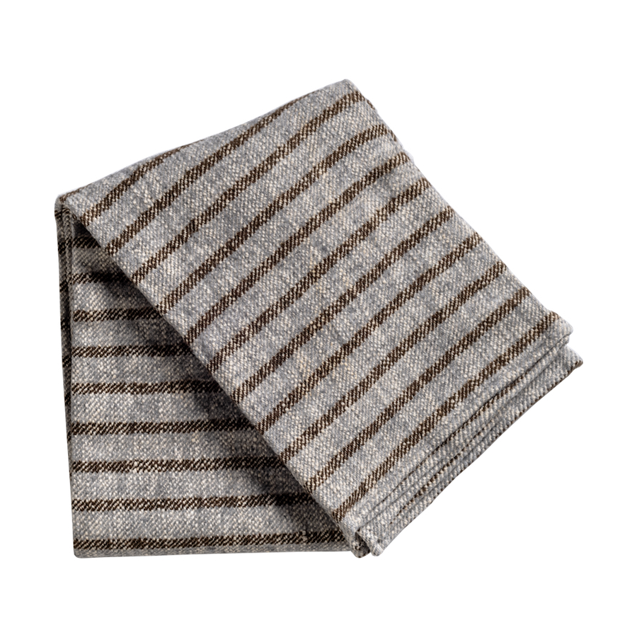 Brown And Gray Striped Throw