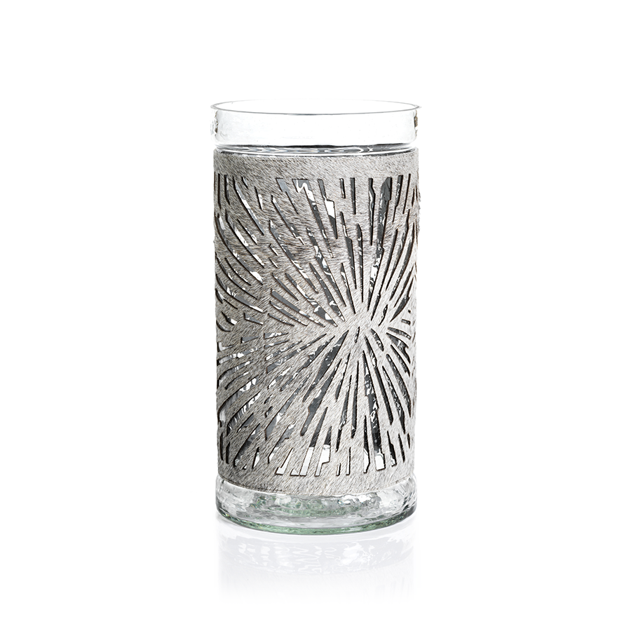 Glass Hurricane With Cowhide Cover