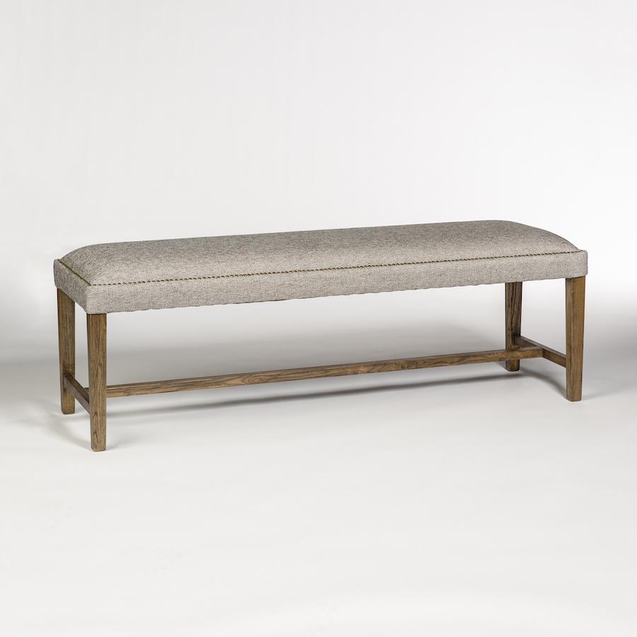 Gray Upholstered Ottoman Brass Nailhead Birch Frame