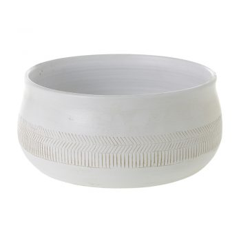 White Terracotta Pot With Etched Band