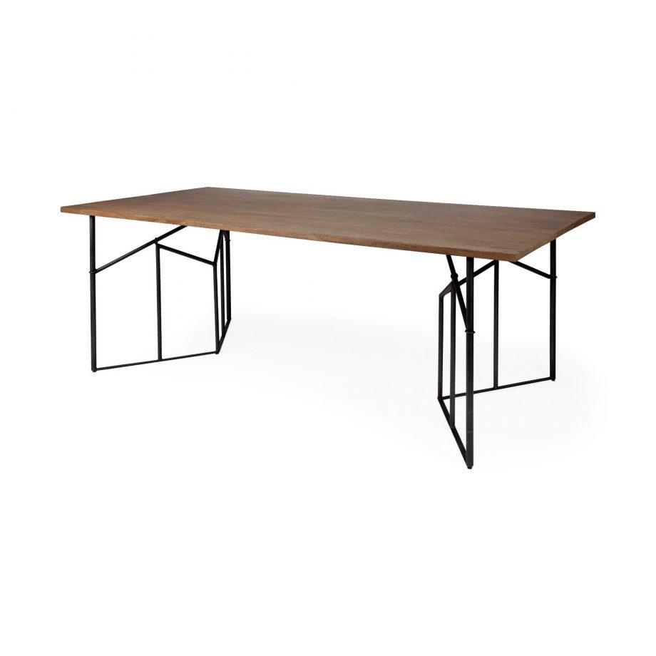 Wood Dining Table With Black Metal Angular Base