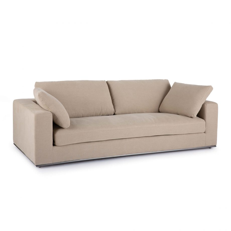Beige Contemporary Linen Square Arm Sofa