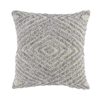 Natural Pillow With Gray Diamond Shag Pattern