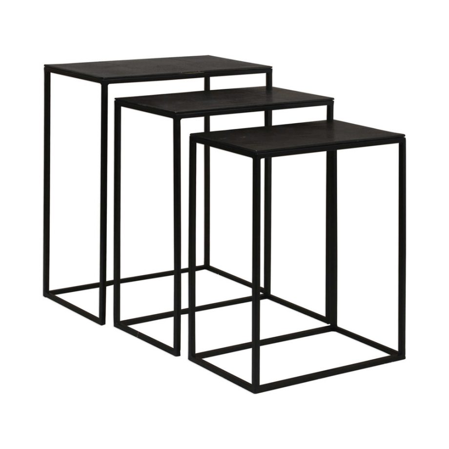 Set Of 3 Black Metal Nesting Side Tables