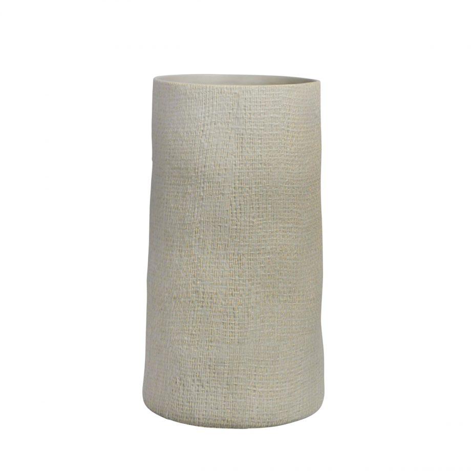 Textured Beige Natural Ceramic Vase