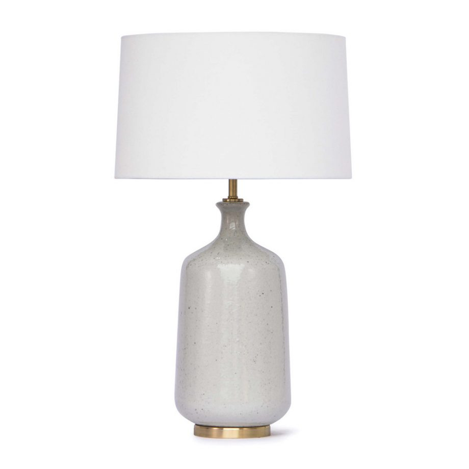 White Glazed Ceramic Table Lamp With Brass Base
