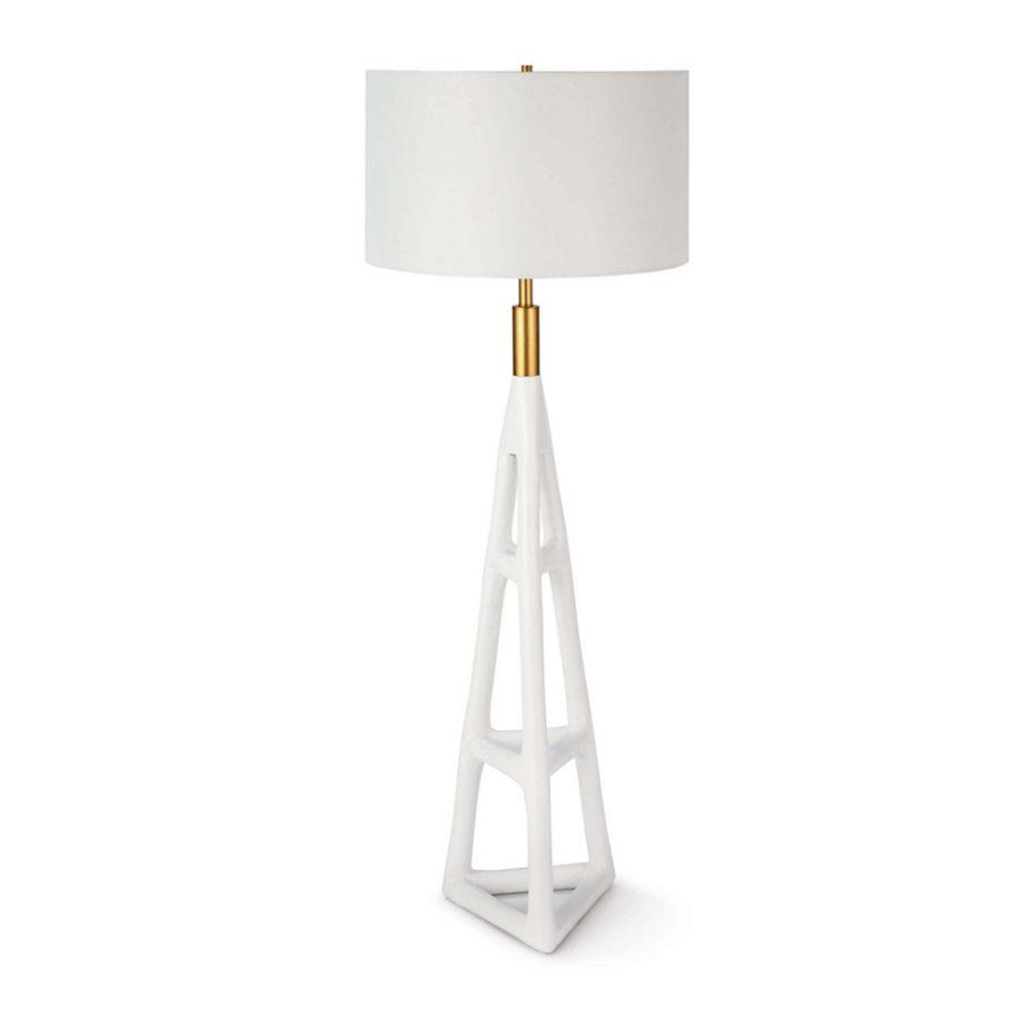 White Hand-Textured Steel Floor Lamp