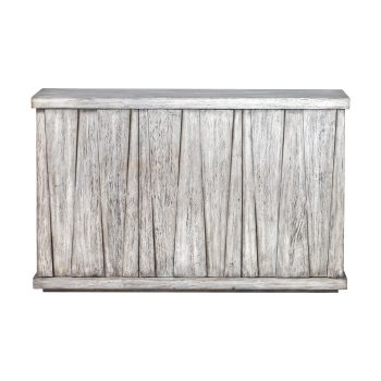 Whitewashed Mango Wood Triangle Distressed Wood Console Cabinet