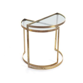 Brass Half Moon Nesting Side Tables With Glass Top