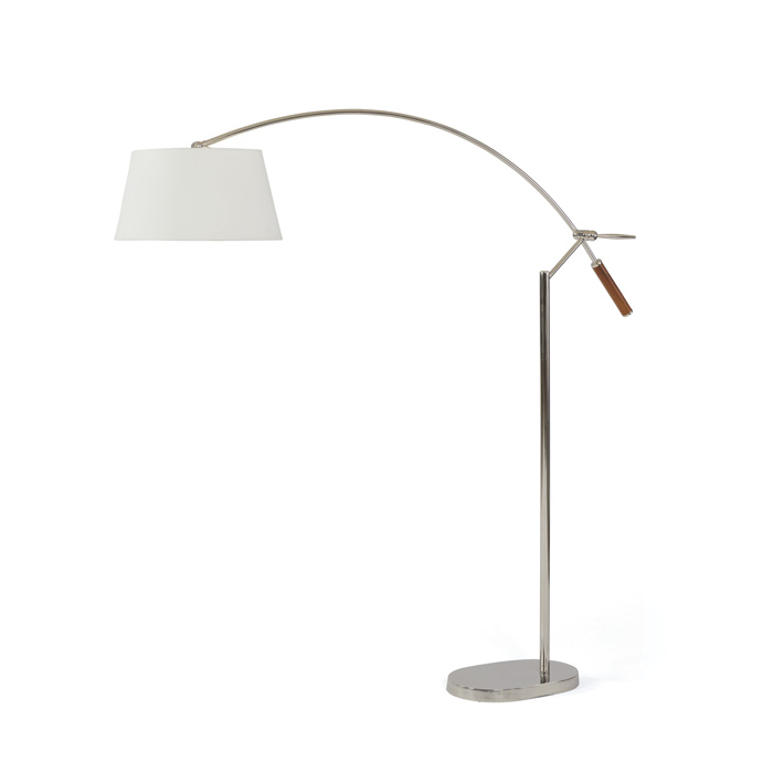 Chrome Arched Over The Couch Floor Lamp With Wood Handle Accent