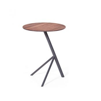Iron And Wood Tripod Side Table