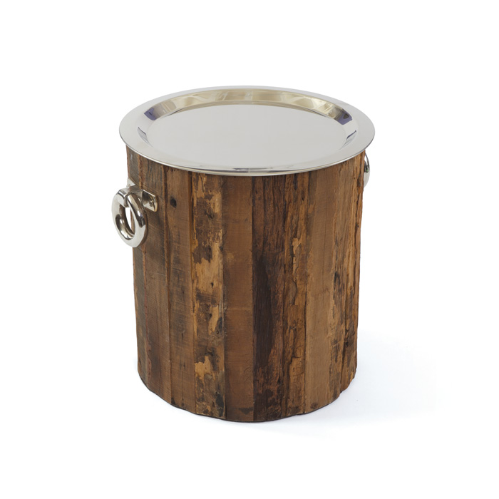 Round Wood Barrel Side Table with Silver Tray Top