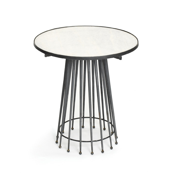 black metal mid century mod needle table white marble top