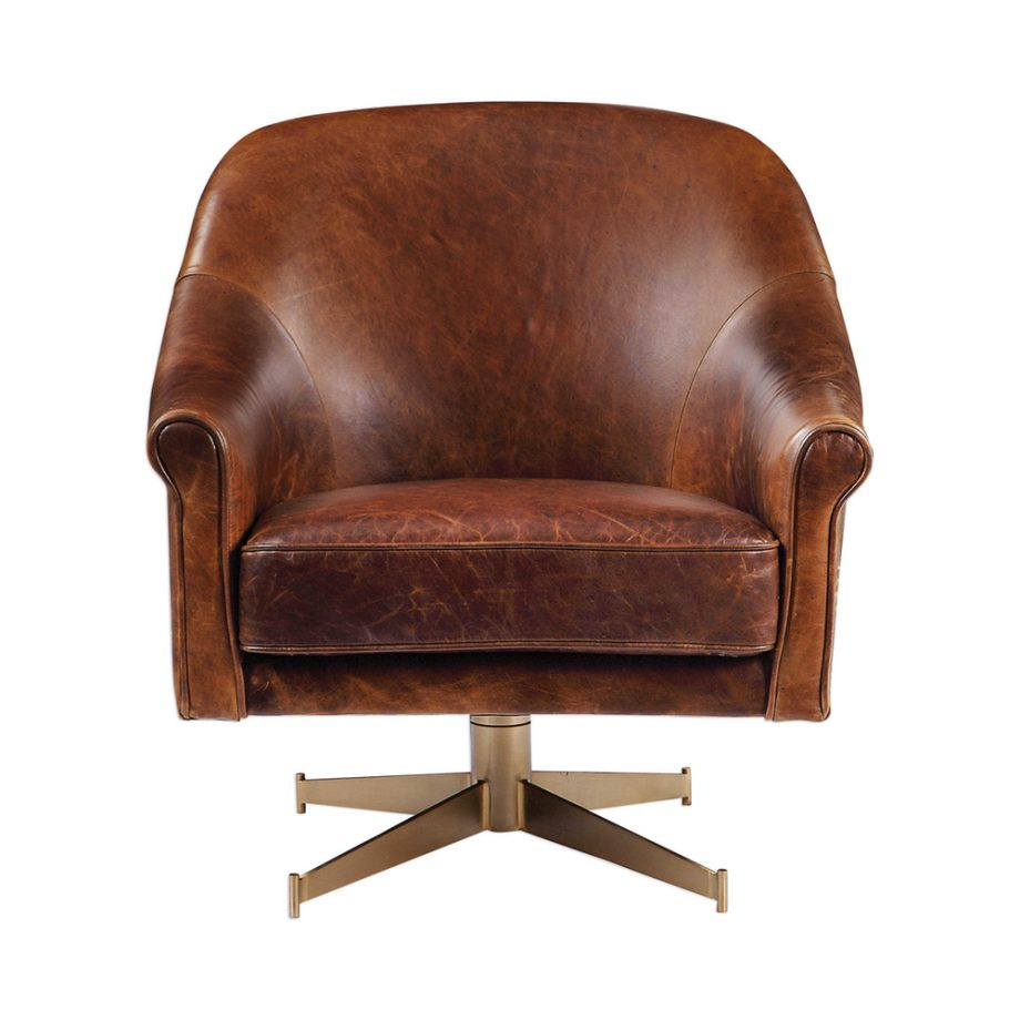 brown leather swivel club chair on brass metal base