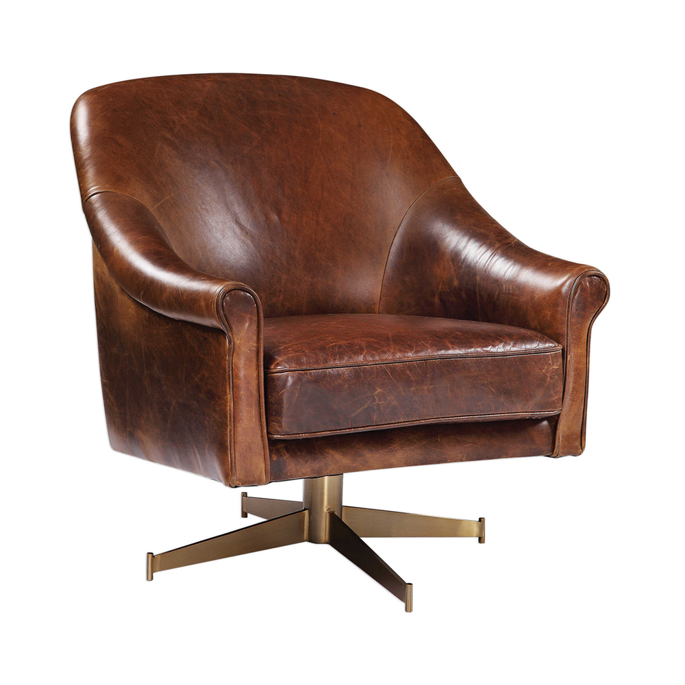 Brown Leather Swivel Club Chair Fourth Home