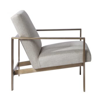 cream linen accent chair with contemporary brass metal frame armview
