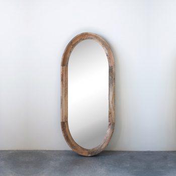 oval mango wood mirror