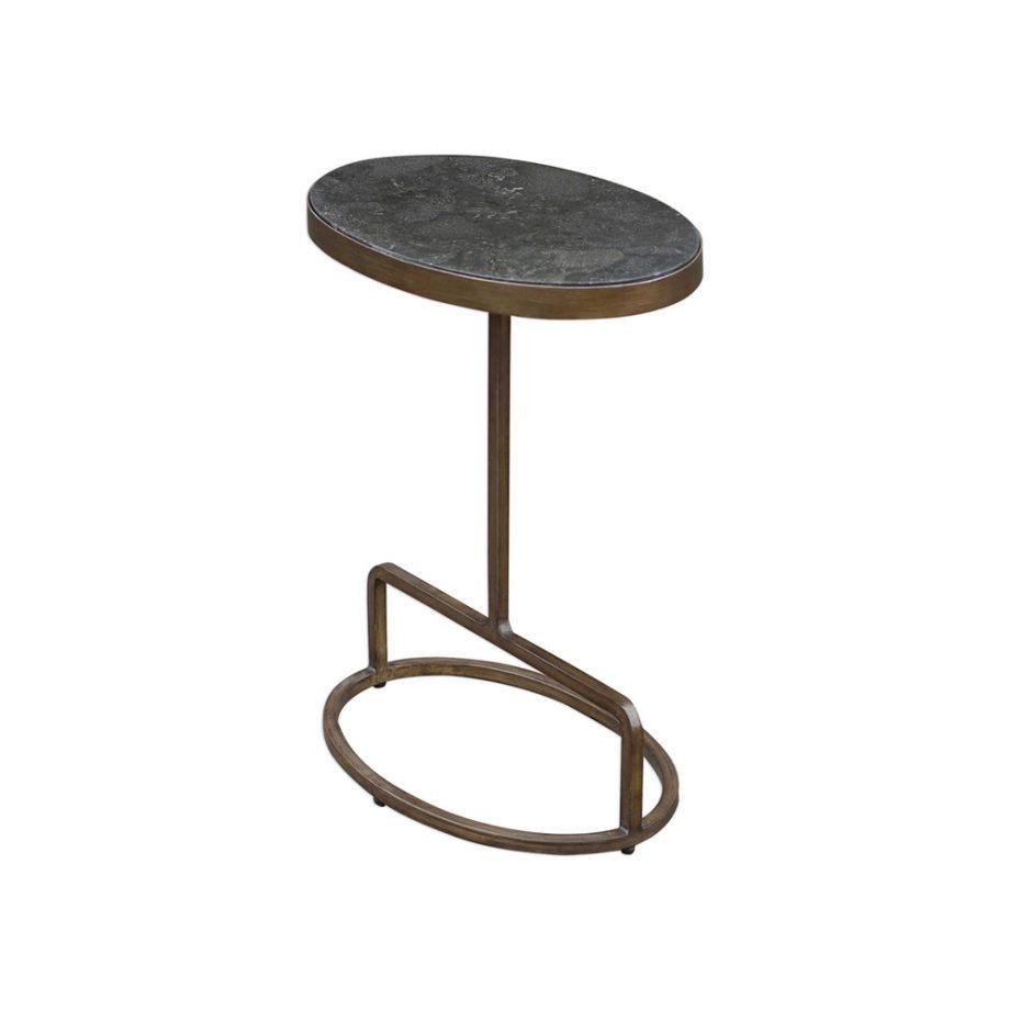 polished bluestone side table with brass wideset base