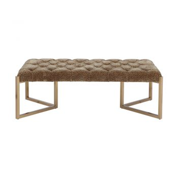 tufted cheetah ottoman on brass base