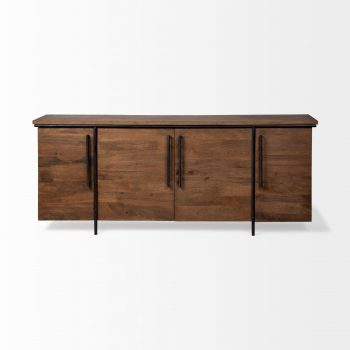 wood console cabinet with black metal frame and base