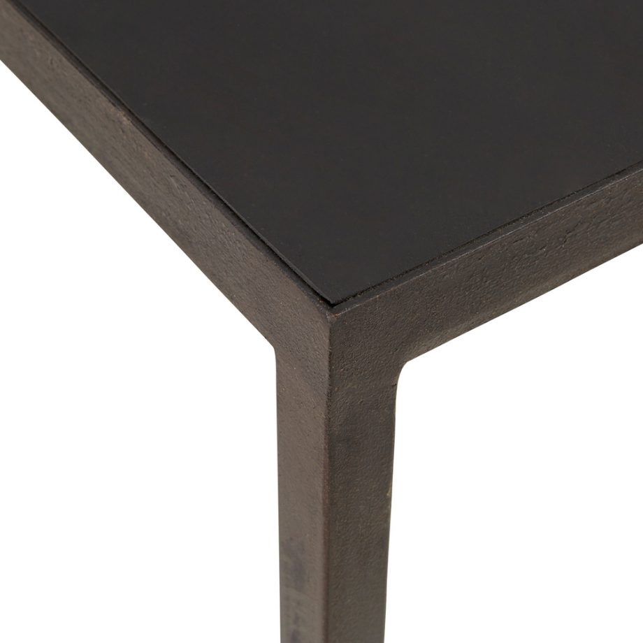 black metal narrow coffee table