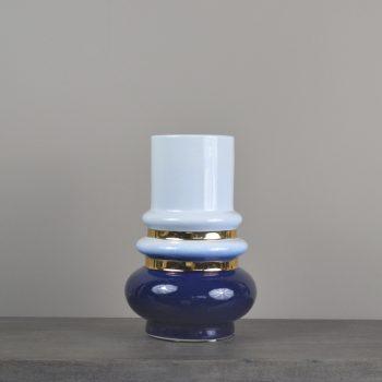 Blue White And Gold Ring Vase
