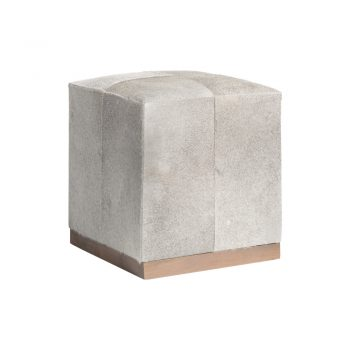 cowhide ottoman with wood base
