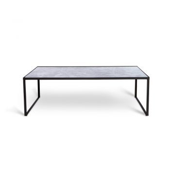 mercury glass coffee table on black metal base