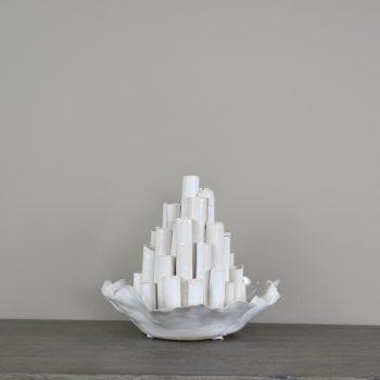 white coral shaped multi tiered ceramic vase