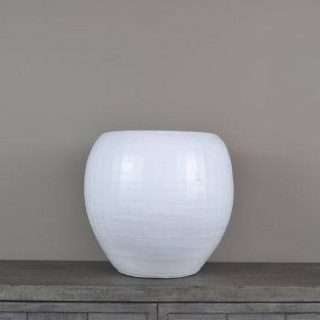 white etched ceramic pot