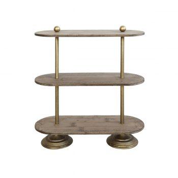 wood and brass three tier shelf