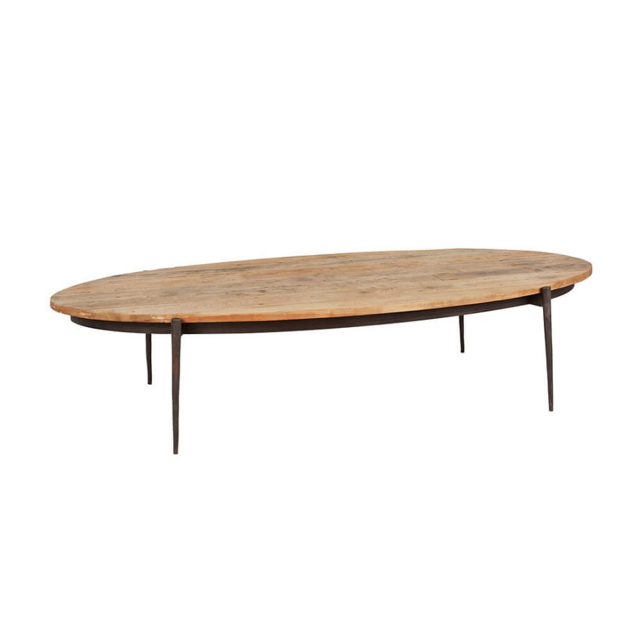 wood surfboard coffee table with black metal base