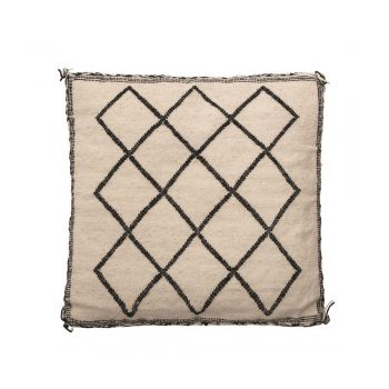 natural pillow with black diamond stitched pattern