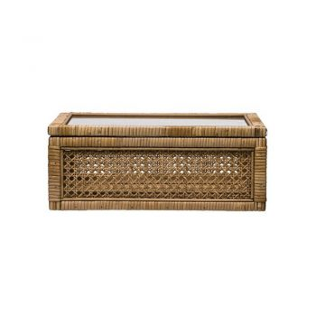 rattan and glass decor box with glass lid