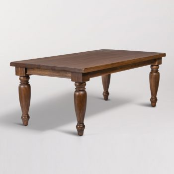rectangular dark wood dining table with spindle legs