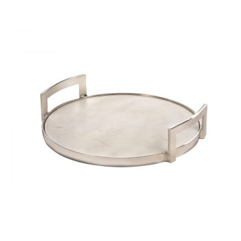 round white marble and silver tray with handles