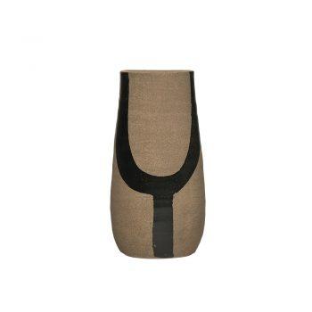 terra cotta vase with hand painted black brushstroke