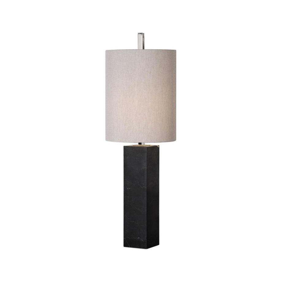 thin black marble column table lamp with linen shade