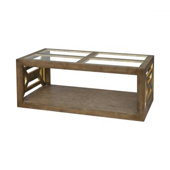 wood and glass rectangular coffee table with gold leaf accents