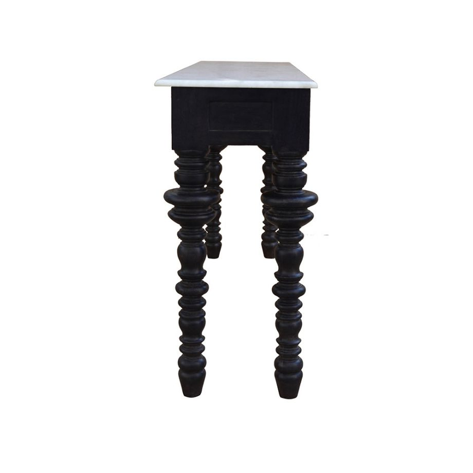 black wood console with marble top and spindle legs