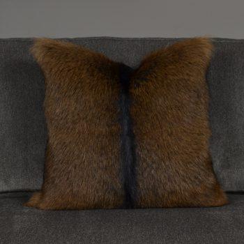 brown goat fur pillow